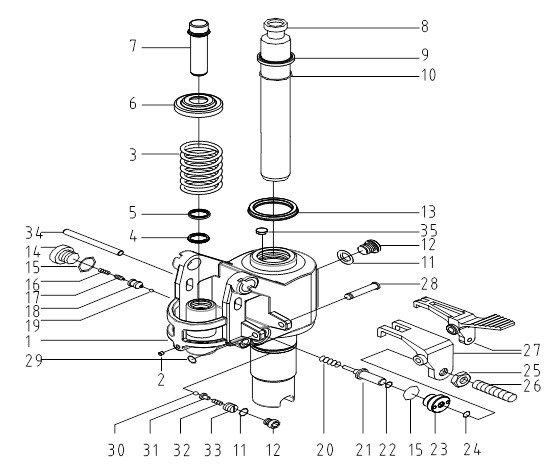 Схема гидроузла тележки Xilin BF-III
