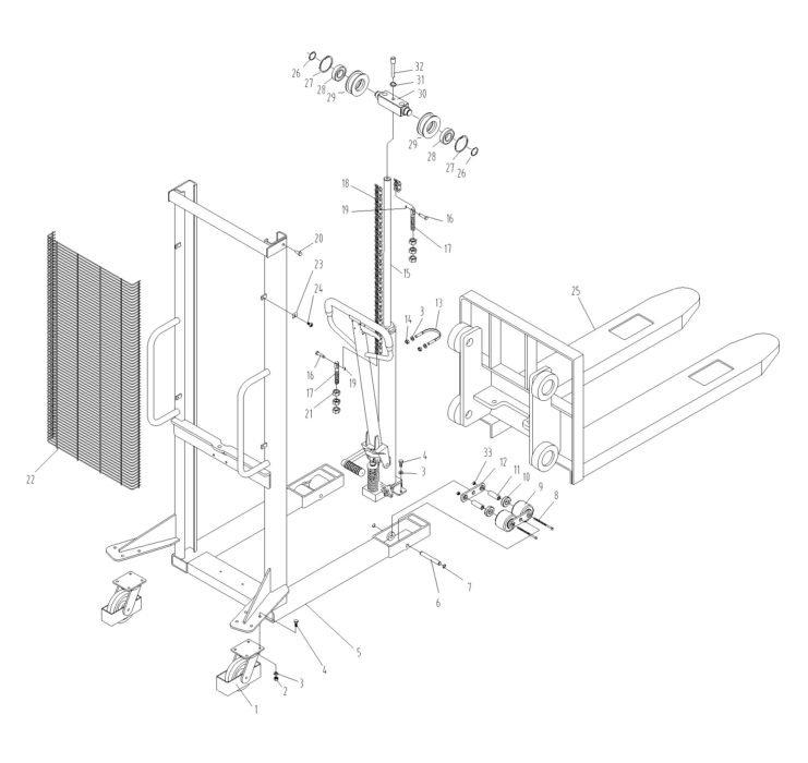 Общая схема запчастей штабелера Xilin SDJ1516
